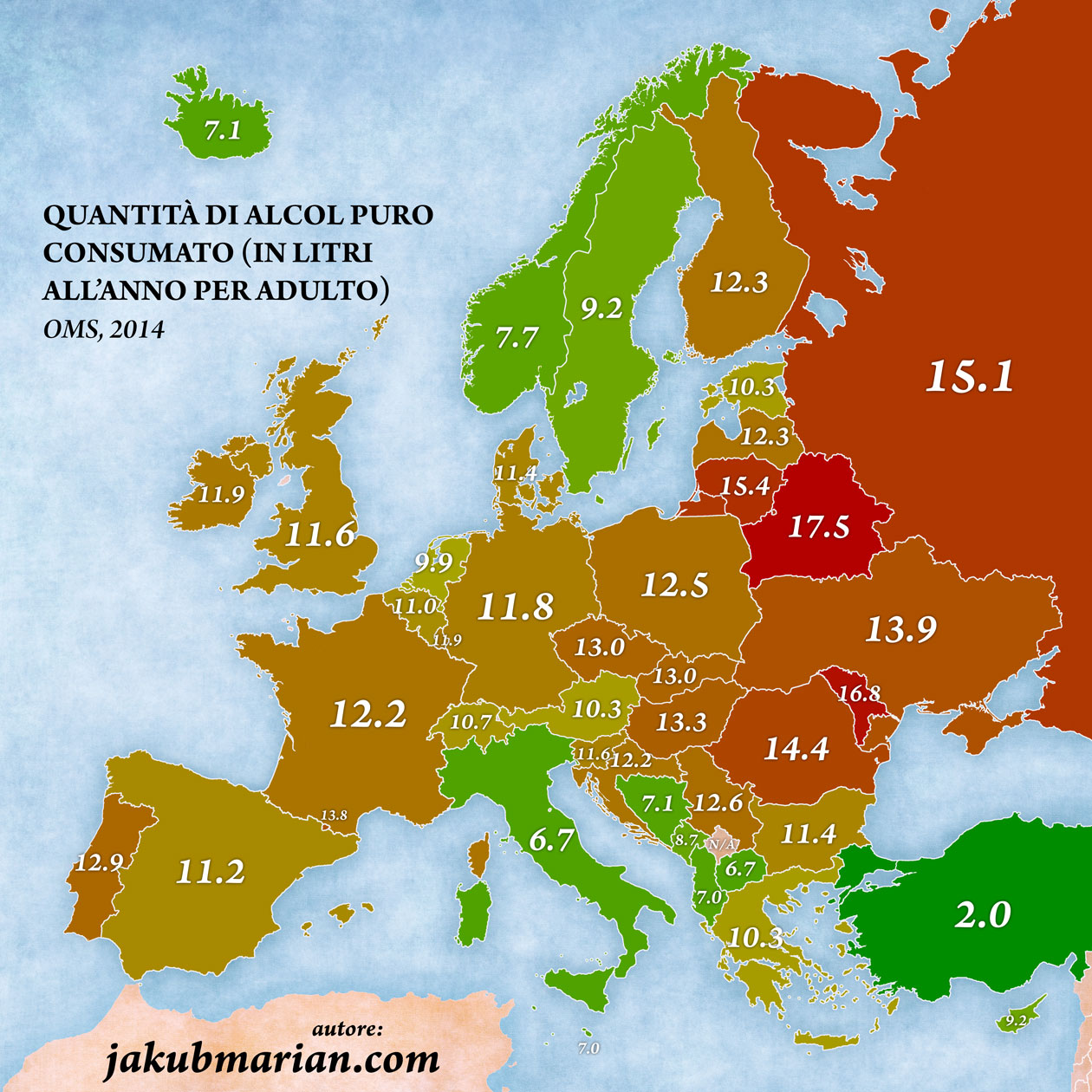 Quantità di alcol puro consumato (in litri all'anno per adulto)